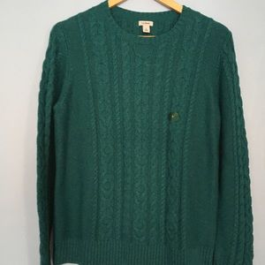 NEW LL BEAN SZ LARGE CABLE KNIT PULLOVER SWEATER